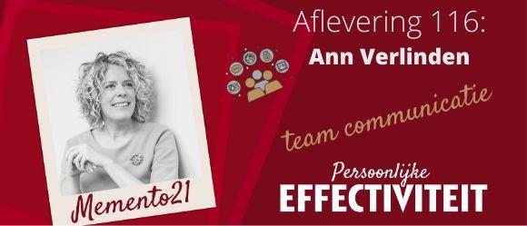 Afl 116  Betere team en één op één communicatie – Interview met Ann Verlinden